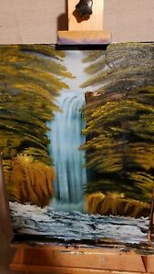 Oil Painting Waterfall 18x24 framed $79.00