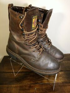 Justin Mens Waterproof 8quot; Brown Leather Work Boots WK960 Size 6.5 D Soft Toe