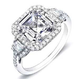 4.31 Ct. Asscher Halo Diamond Plat Ring Trapezoids 3 stone Design ring GVS1 EGL