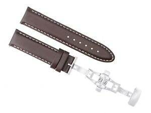 20MM LEATHER STRAP BAND BRACELET DEPLOYMENT BUCKLE CLASP FOR INVICTA BROWN #2