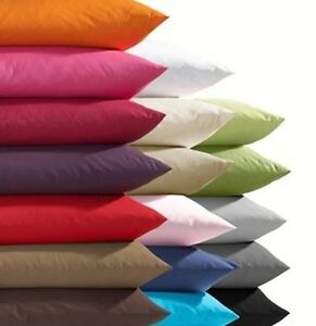 PILLOW CASES - POLY COTTON BEDDING - MANY COLOURS - WHITE BLUE ETC - PACK OF 2