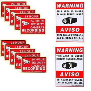 12x CCTV Home Surveillance Security Camera Video Sticker Warning Decal Signs m2w