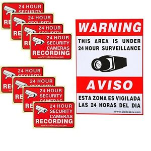 9x CCTV Video Home Surveillance Security Camera Warning Sticker Decal Signs m2z