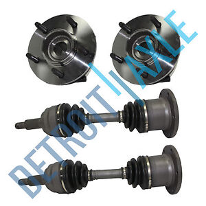 2 NEW Wheel Hub Bearings and 2 front Axle 2000-2003 Ford F-150 5 LUG 4x4 w/ ABS