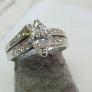 Spectacular Marquise Diamond Wedding Ring Set with Appraisal Paper  Make Offer