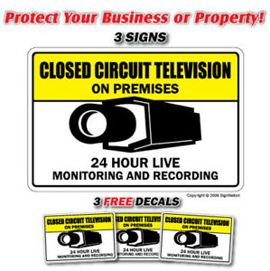 VIDEO SURVEILLANCE CCTV 3 Signs & 3 Free Decals camera
