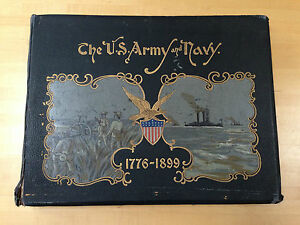 Antique The US Army and  Navy 1776-1899 MILITARY  Book 42 COLOR CHROMOLITHOGRAPH