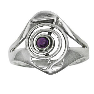Sterling Silver Cho Ku Rei Reiki Ring Power Symbol Amethyst Stone Sizes 4-15