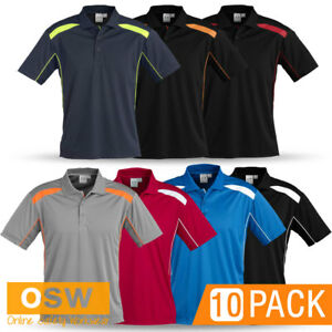 10 X UNISEX QUICK DRY BREATHABLE MESH WORK OFFICE TRADIE UNIFORMS POLO SHIRTS