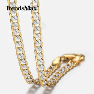 4mm Hammer Curb Cuban Link Silver Gold Filled Chain Necklace Men Women 22-36