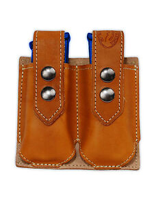 NEW Barsony Tan Leather Double Magazine Pouch Paraordnance Full Size 9mm 40 45