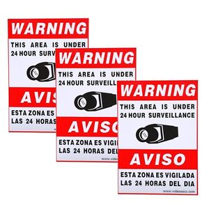 3x Large Security Camera Video CCTV Surveillance Warning Sticker Decal Home C0L