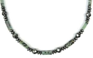 MEN'S WOMANS Magnetic Black Hematite AFRICAN TURQUOISE Stone Necklace QUICK SHIP