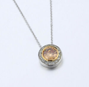 4031350 Designer Inspired Champagne Cognac CZ Pendant Necklace 2 Tone With Chain