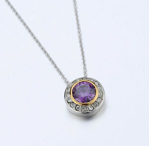 4031351 Designer Inspired Amethyst Purple Pendant Necklace 2 Tone With Chain