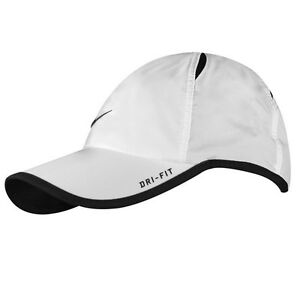 New Nike Feather Light Cap Hat Dri Fit Running Tennis Football 595510-100 White
