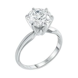 3 Ct Round Cut Solitaire Engagement Wedding Promise Ring Solid 18K White Gold