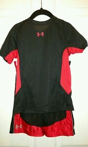 NWT NEW UNDER ARMOUR BLACK RED basketball boy athletic shirt shorts set sz 4
