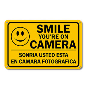 Smile You are on Camera Sign Video Security Surveillance Signs English Spanish