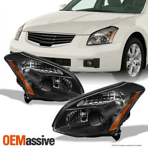 Fits 07-08 Maxima Sedan Replacement Black Projector Headlights lamps Left+Right