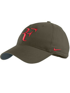 New Nike RF Roger Federer Hat Cap Green Cargo Khaki  Red Dri Fit 371202-360