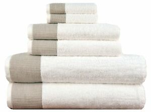 Lunasidus Venice Collection 6 Pc Towel Set - 100% Genuine Turkish Combed Cotton