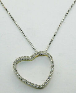 LADIES 14K WHITE GOLD DIAMOND FLOATING HEART CHARM NECKLACE
