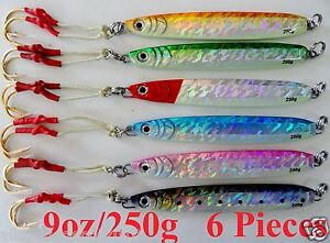 Knife Jigs 9oz  250g 6 Pieces Vertical Butterfly Saltwater Lures With Free Bag