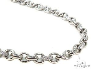 Mens Diamond 14k White Gold 26inches 8mm Round Cut G Color Link Chain 26.71ct