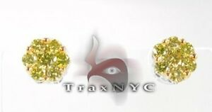 Ladies Women Diamond Stud Earring Round Cut Canary Color 14k Yellow Gold 1.12ct