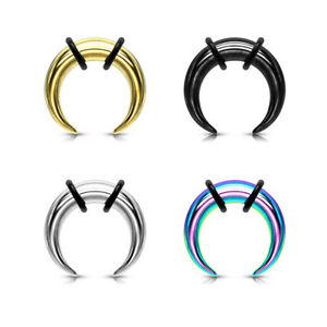 1pc PVD Plated Septum Ring Buffalo Taper Expander Plug Pincer Black Gold