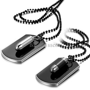 Men's Stainless Steel Black Bullet Dog Tag Pendant Necklace w Bead Chain