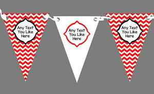 Chevron Stripes Red And White Personalised Birthday Party Bunting
