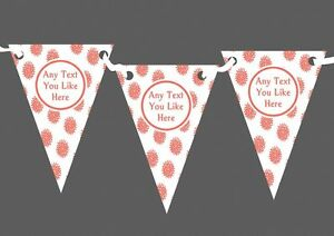Coral Flowers White Personalised Christening Baptism Bunting