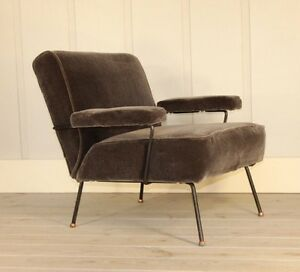 Dan Johnson for Pacific Iron Frame Mid Century Lounge Chair Copper Feet Mohair