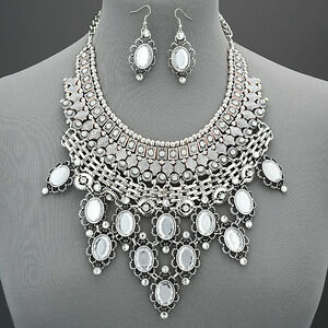 Silver Large Bohemian Style Clear Stone Tassels Statement Necklace With Earrings