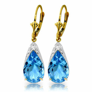 12.0 ctw Natural Blue Topaz Leverback Earrings in 14K White Yellow or Rose Gold