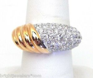 Sparkling Ladies 14k Rose & White Gold 2.16 Cts. Domed & Ribbed Band Ring