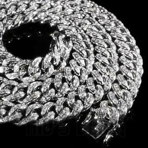 18K White Gold Iced Out CUBAN Miami Chain Link MicroPave Lab Diamond Necklace