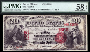 $20 1875 The First Charter National Bank Note PMG 58 EPQ