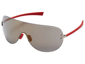 Under Armour UA Split Men's Sunglasses Satin Silver Red Frame Bronze Shield Lens