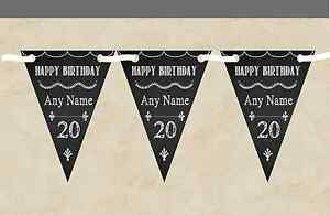 Chalkboard Style Black & White Personalised Birthday Party Bunting