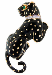 c.1970s DAVID WEBB ENAMEL DIAMOND YELLOW GOLD PANTHER PIN BROOCH