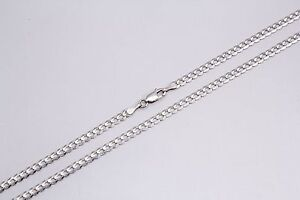 14k Solid White Gold Men Women 4mm Cuban Link Chain Necklace 16