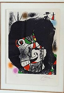 JOAN MIRO Original Signed COLOR Lithograph Artwork Abstract - Inscribed: