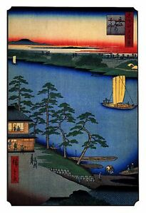 Japanese Woodblock Meditation Wall Art Print: Sacred Temple Shrine w Ferry Boat
