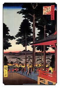Japanese Woodblock Meditation Wall Art Print: Red Shrine Spiritual Temple Pagoda