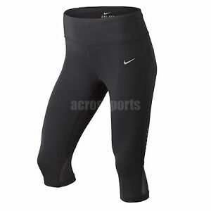 Asian Size Nike Epic Run Lux Dri-Fit Running Black Womens Capri Pants 644889-010