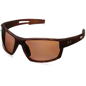Under Armour UA Men's Captain Polarized Sunglasses Wood Grain Frame Brown Lens