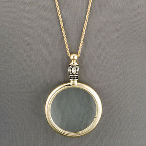 Antique Gold Chain 5 X Magnifying Glass Design Pendant Necklace $13.99